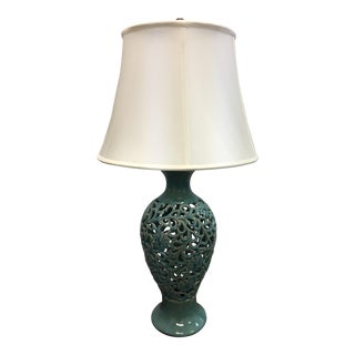 Turquoise Asian Inspired Ceramic Table Lamp