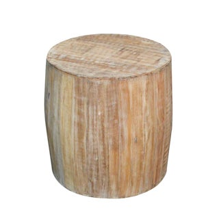 Distressed Tan Wood Drum Side Table