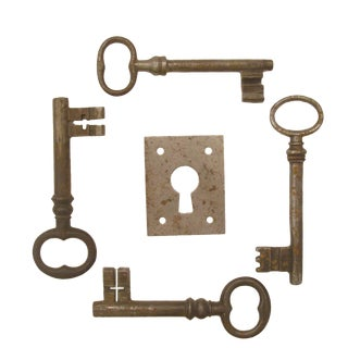 Vintage French Iron Keys & Eschutcheon Plate