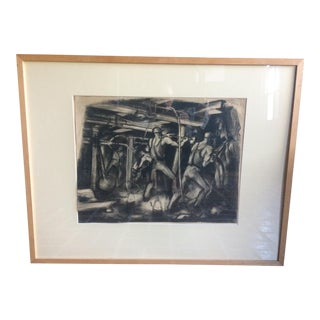 C. 1930 French Art Deco Charcoal of Miners