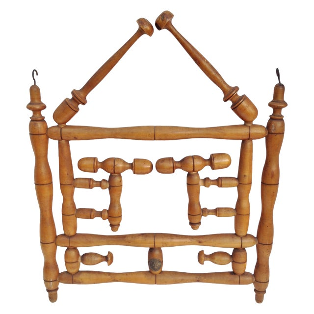 Antique Faux Bamboo Hat and Coat Folding Rack - Image 1 of 7