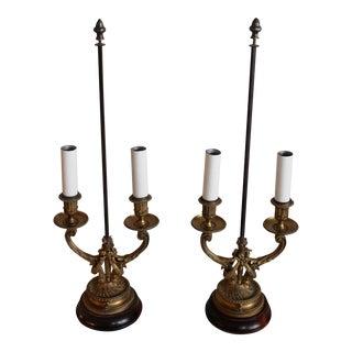 Antique Gilt-Bronze Two-Light Candelabra - a Pair
