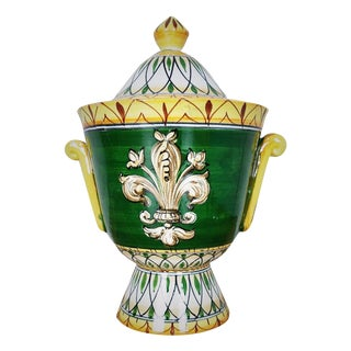 Italian Majolica Fleur De Lis Covered Cache Pot