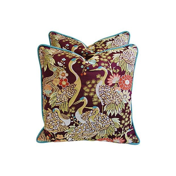 Designer Embroidered Crane Pillows - Pair - Image 3 of 8