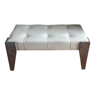 White Upholstered & Wood Bench