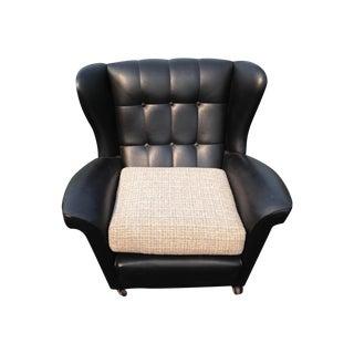 Mid Century Tufted Black Vinyl Club Chair - Pair