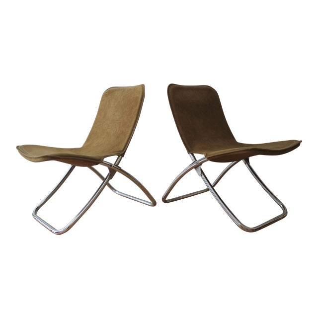 Faux Camel Suede Folding Lounge Chairs - A Pair - Image 1 of 7