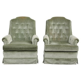 Velvet Seafoam Swivel Club Chairs - A Pair