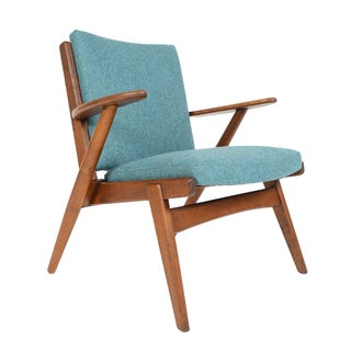 Paddle Arm Stained Oak Lounge Chair