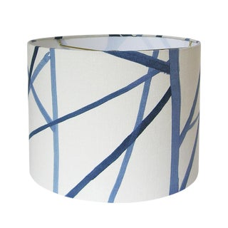 New, Made to Order, Large Drum Lamp Shade, Kelly Werstler Channels Fabric in Periwinkle
