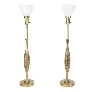 Laurel Mid-Century Modernist Brass Table Lamps - A Pair