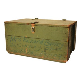 Vintage Distressed Green Military Trunk