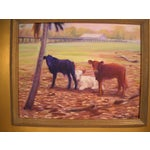 Image of Three Calves And A Palm Oil Painting