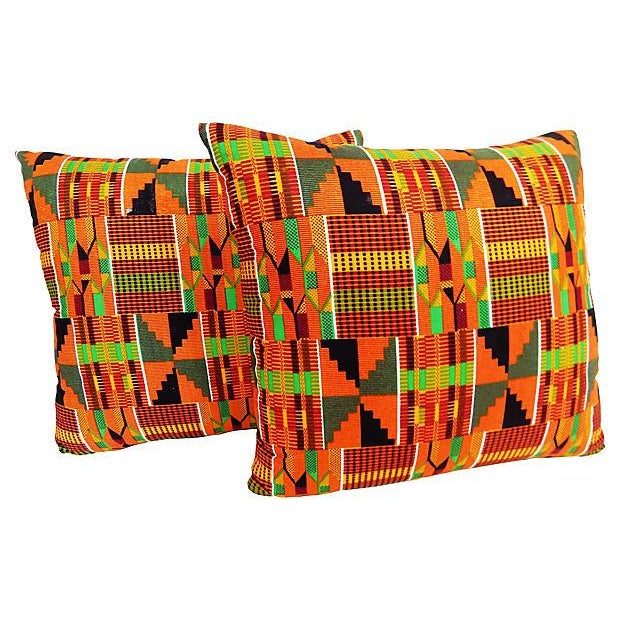 Kente Cloth Pillows, Pair - Image 3 of 5