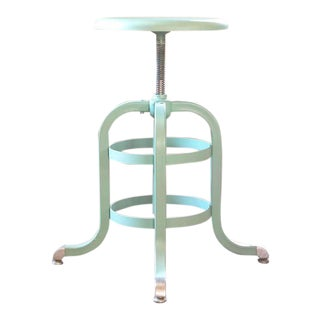 1930s American Vintage Metal Medical Stool, Adjustable, Seafoam Green