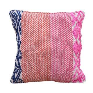 Pink & Blue Peruvian Frazada Pillow