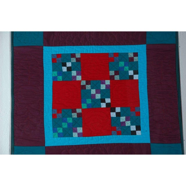 Rare 1940s Lancaster, Pa. Amish Postage Stamp Chain Doll Quilt - Image 5 of 8