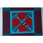 Image of Rare 1940s Lancaster, Pa. Amish Postage Stamp Chain Doll Quilt