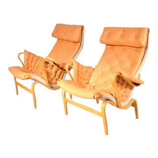 "Pair of ""Pernilla"" Easy Chairs by Bruno Mathsson for DUX, Sweden, circa 1970"