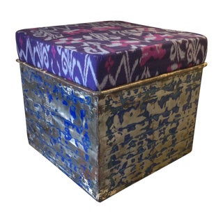 Stained Metal Ottoman with Kantha Cushion - Purple