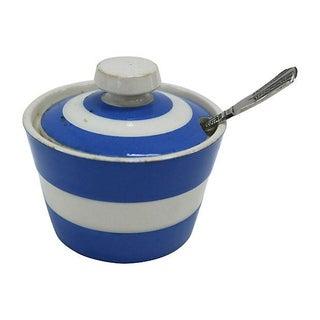 Vintage English Cornishware Mustard Pot with Spoon