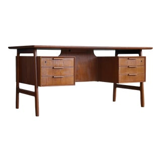 Gunni Omann Free Floating Desk in Teak Model 75 for Omann Jun, Denmark, 1960s