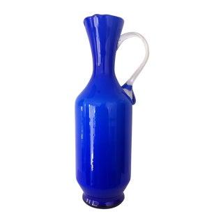 Cobalt Cased Cylinder Ewer
