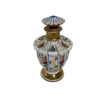 Antique Exquisite Hand Painted Floral Gilt Perfume Bottle
