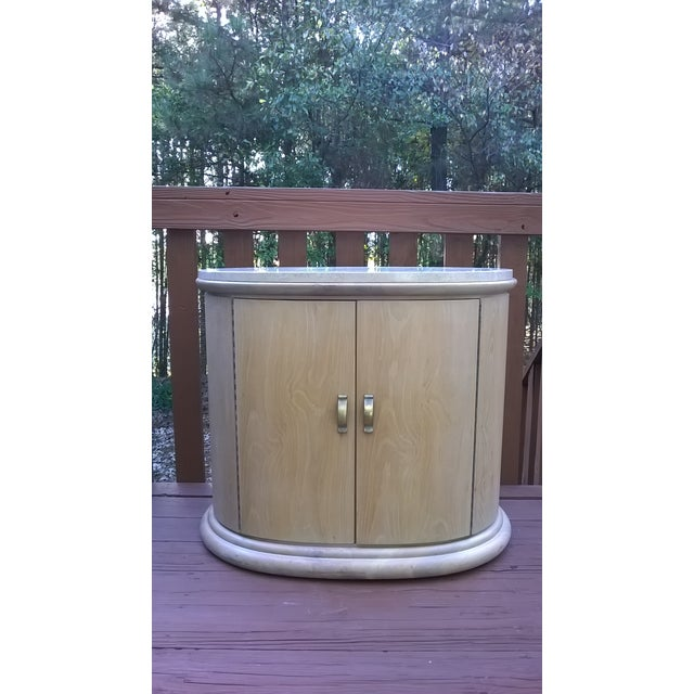 Art Deco Modern Wood Travertine Cabinets - A Pair - Image 2 of 8