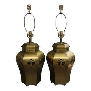 Vintage Chinoiserie Brass Ginger Jar Lamps - a Pair