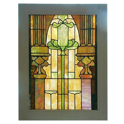 Antique Architectural Stained Leaded Glass Window - Image 1 of 5