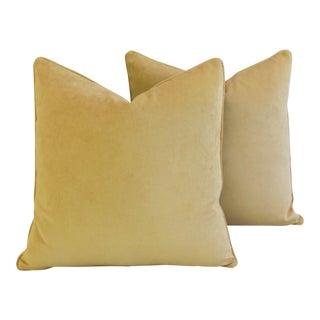 Large Rich Ultra Soft Golden Velvet Feather/Down Pillows - Pair
