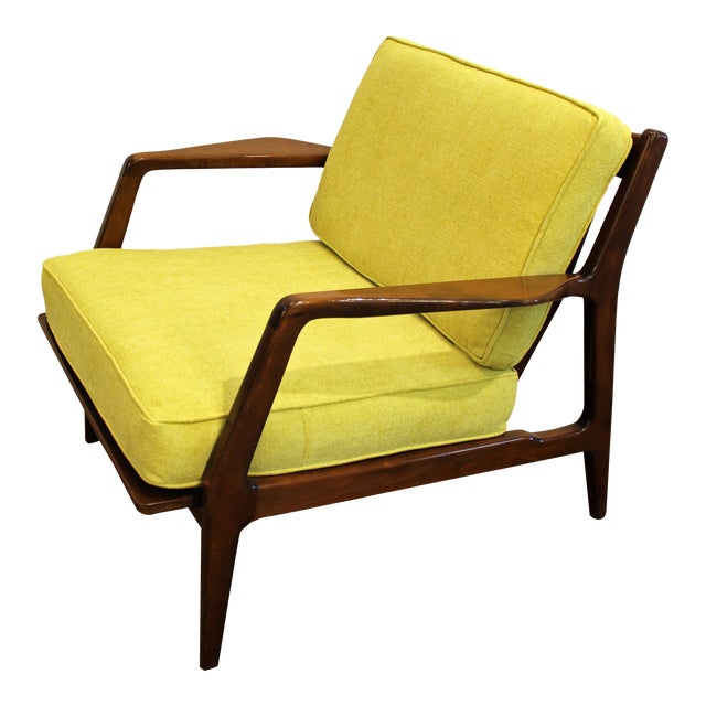 Mid-Century Danish Modern 'Citron' Walnut Open Arm Lounge Chair - Image 1 of 11