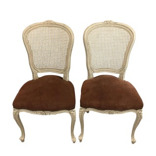 Chateau d'Ax Suede Seat Louis XV Chairs - A Pair