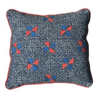 Indigo Hmong Textile Blue & Red Pillow