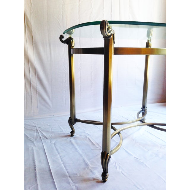 Brass Beveled Glass Side Tables- A Pair - Image 4 of 4