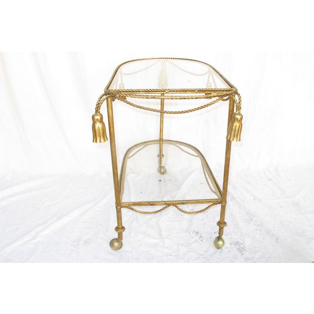 Hollywood Regency Gold Leaf Cocktail Cart - Image 5 of 7