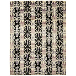 "Ikat, Hand Knotted Area Rug - 9' 1"" X 12' 3"""