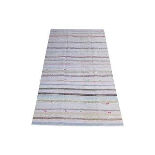 Vintage Turkish Multi-Color Handmade Flatweave Rug - 5′ × 10′1″