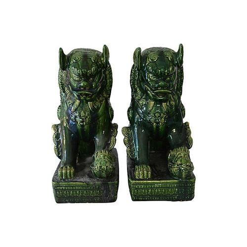Vintage Grand Emerald Foo Dogs - S/2 - Image 7 of 7