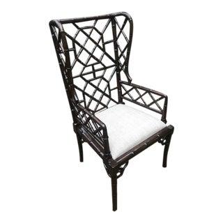 Bamboo Regency Walnut Wing Chair