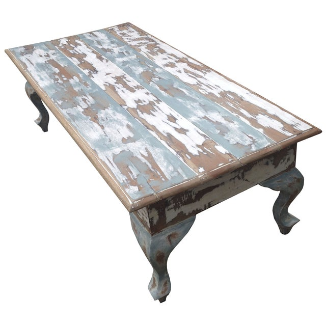 Distressed Coffee Table in Blue and White - Image 3 of 4