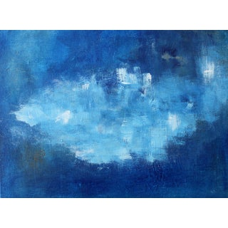 Modern Abstract Blue & White Painting