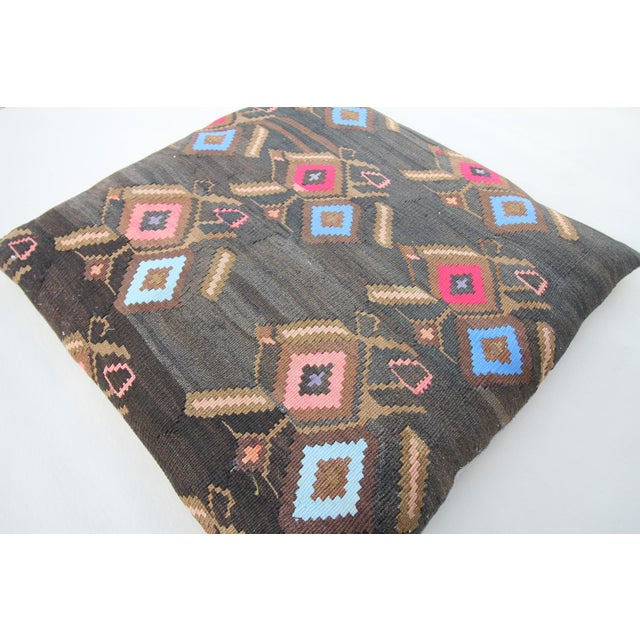 Vintage Turkish Tribal Kilim Rug Floor Pillow & Dog Bed 36'' x 36 - Image 3 of 7