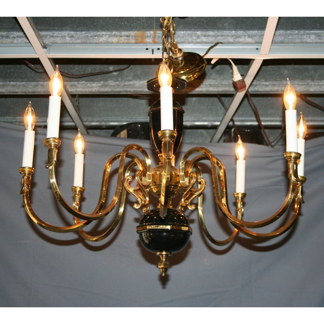 Black & Gold Porcelain and Brass Chandelier - Image 2 of 8