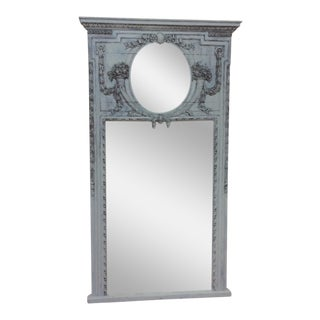 Antique Painted Finish Trumeau Mirror