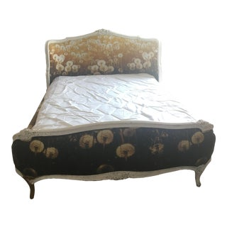 Antique Victorian Dandelion Upholstered Bedframe