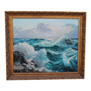 Vintage Seascape Oil on Canvas, 1940's
