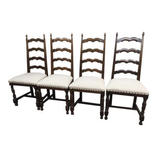 Ladder Back Dining Chairs Reupholstered, French Country - Set of 4