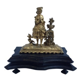 Antique Gilt Bronze Memorial Sculpture
